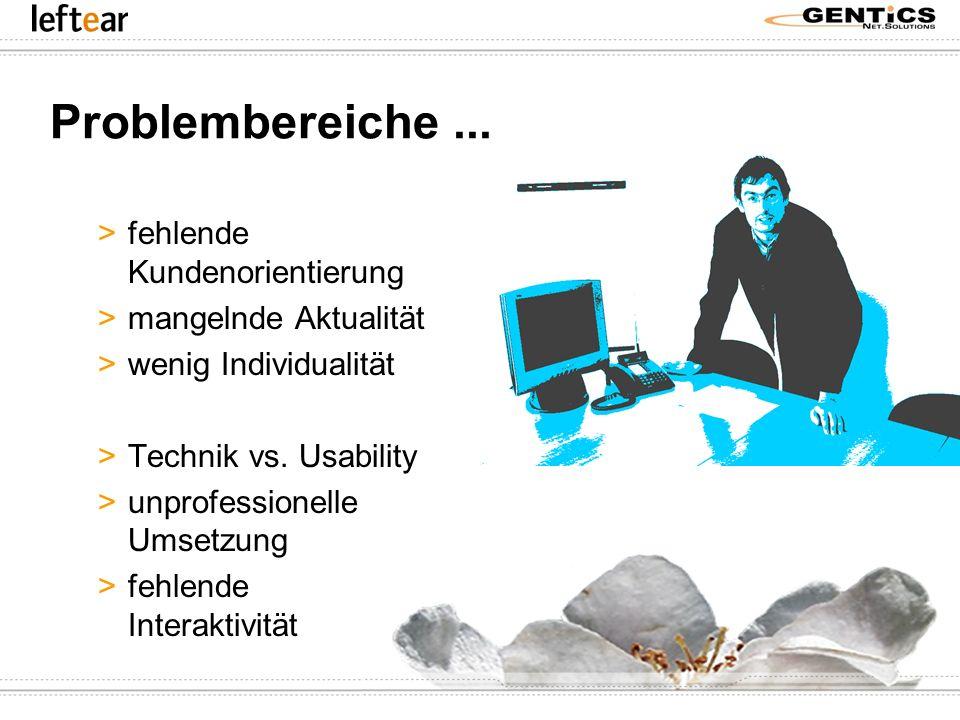 Problembereiche... >fehlende Kundenorientierung >mangelnde Aktualität >wenig Individualität >Technik vs. Usability >unprofessionelle Umsetzung >fehlen