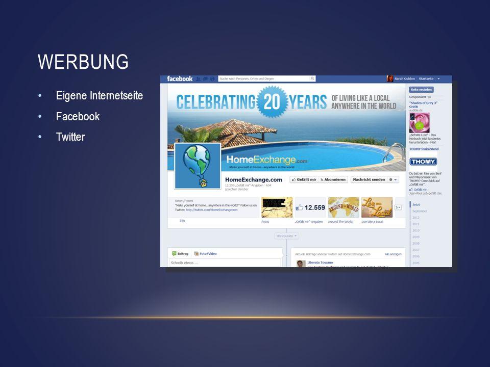WERBUNG Eigene Internetseite Facebook Twitter