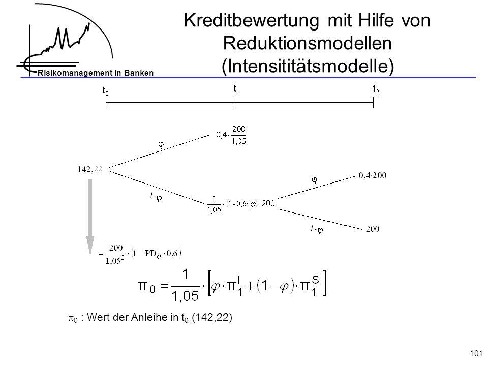 Risikomanagement in Banken 101 0 : Wert der Anleihe in t 0 (142,22) 22 Kreditbewertung mit Hilfe von Reduktionsmodellen (Intensititätsmodelle)