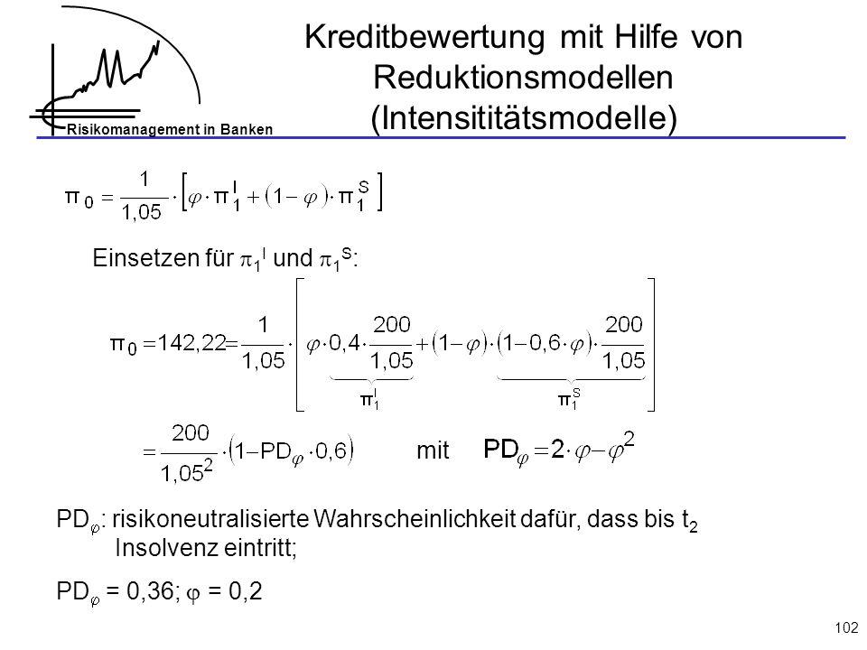 Risikomanagement in Banken 102 Einsetzen für 1 I und 1 S : mit PD : risikoneutralisierte Wahrscheinlichkeit dafür, dass bis t 2 Insolvenz eintritt; PD = 0,36; = 0,2 Kreditbewertung mit Hilfe von Reduktionsmodellen (Intensititätsmodelle)