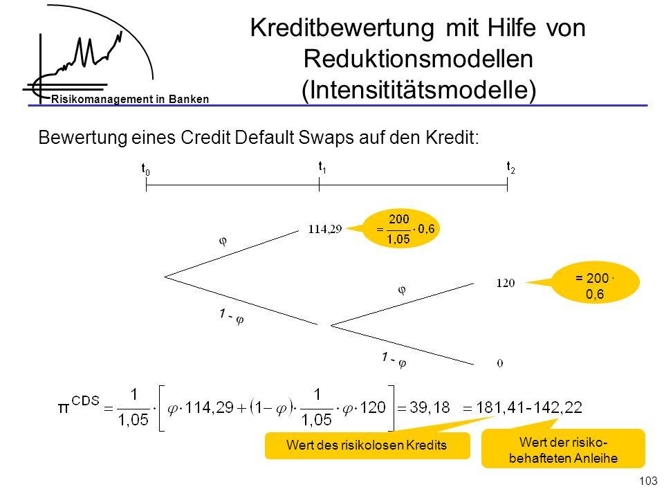 Risikomanagement in Banken 103 Bewertung eines Credit Default Swaps auf den Kredit: = 200 · 0,6 1 - Wert des risikolosen Kredits Wert der risiko- behafteten Anleihe Kreditbewertung mit Hilfe von Reduktionsmodellen (Intensititätsmodelle)
