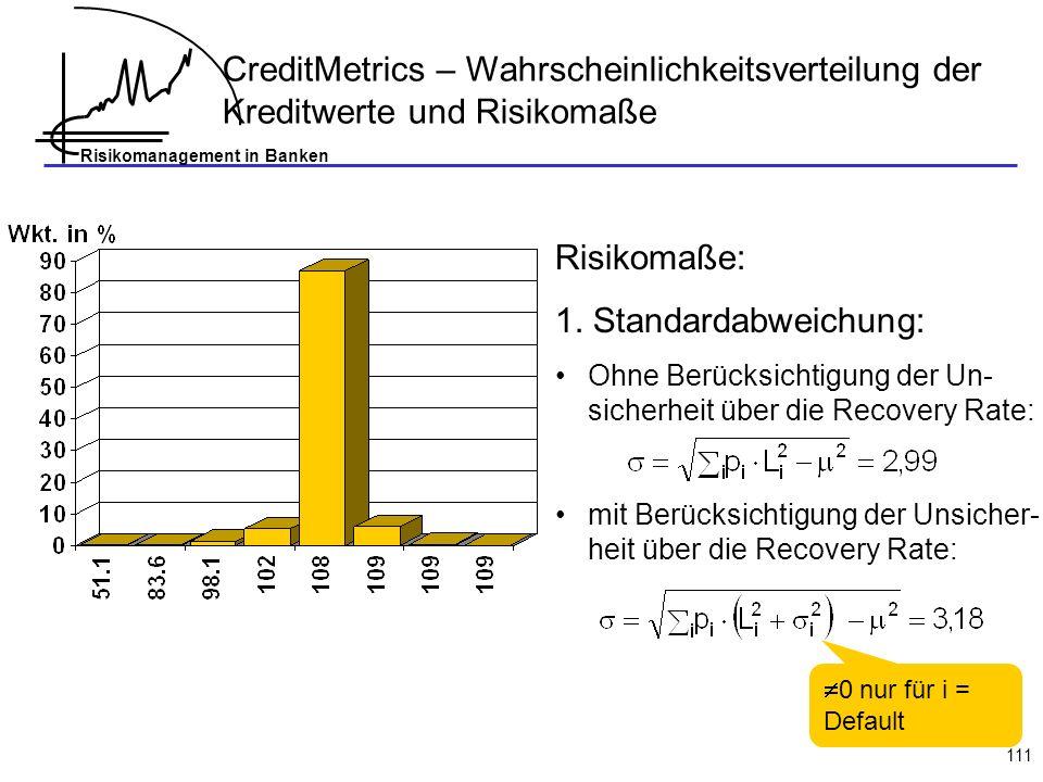 Risikomanagement in Banken 111 CreditMetrics – Wahrscheinlichkeitsverteilung der Kreditwerte und Risikomaße Risikomaße: 1. Standardabweichung: Ohne Be