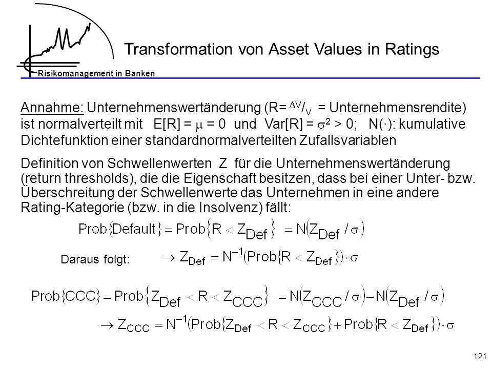 Risikomanagement in Banken 121 Transformation von Asset Values in Ratings Annahme: Unternehmenswertänderung (R= V / V = Unternehmensrendite) ist normalverteilt mit E[R] = = 0 und Var[R] = 2 > 0; N(·): kumulative Dichtefunktion einer standardnormalverteilten Zufallsvariablen Definition von Schwellenwerten Z für die Unternehmenswertänderung (return thresholds), die die Eigenschaft besitzen, dass bei einer Unter- bzw.