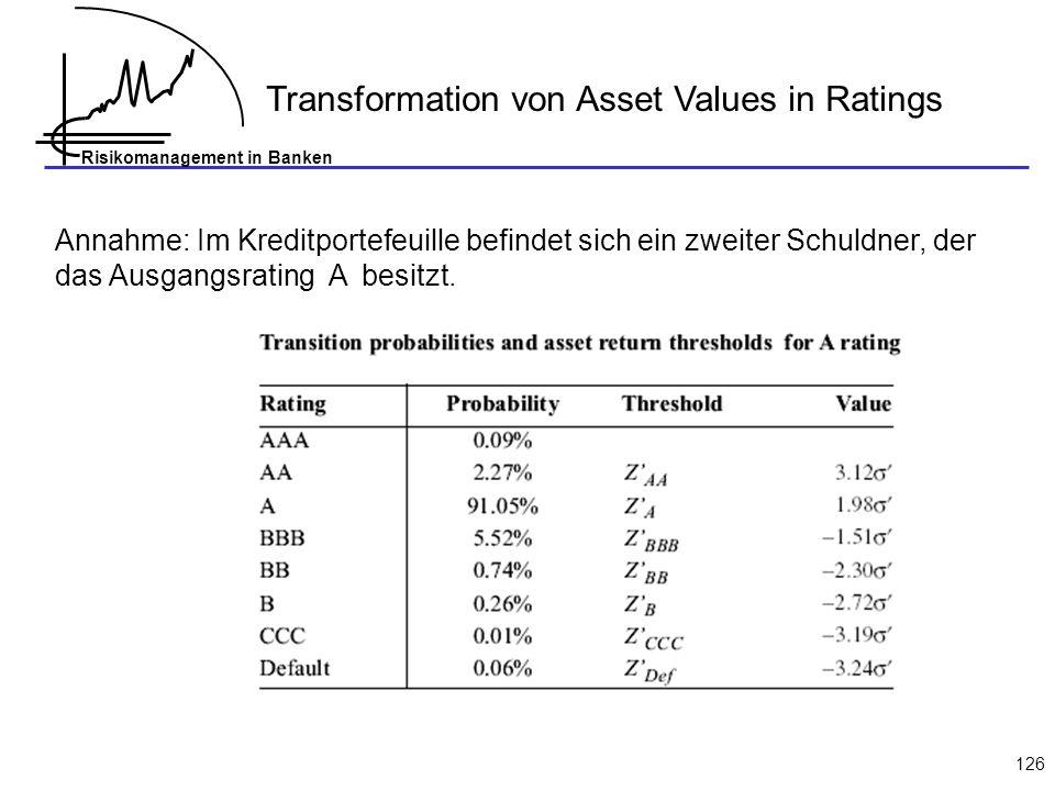 Risikomanagement in Banken 126 Transformation von Asset Values in Ratings Annahme: Im Kreditportefeuille befindet sich ein zweiter Schuldner, der das Ausgangsrating A besitzt.
