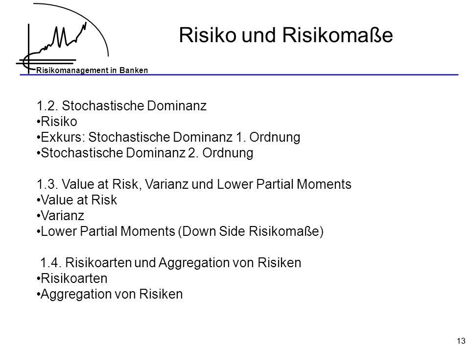 Risikomanagement in Banken 13 Risiko und Risikomaße 1.2. Stochastische Dominanz Risiko Exkurs: Stochastische Dominanz 1. Ordnung Stochastische Dominan