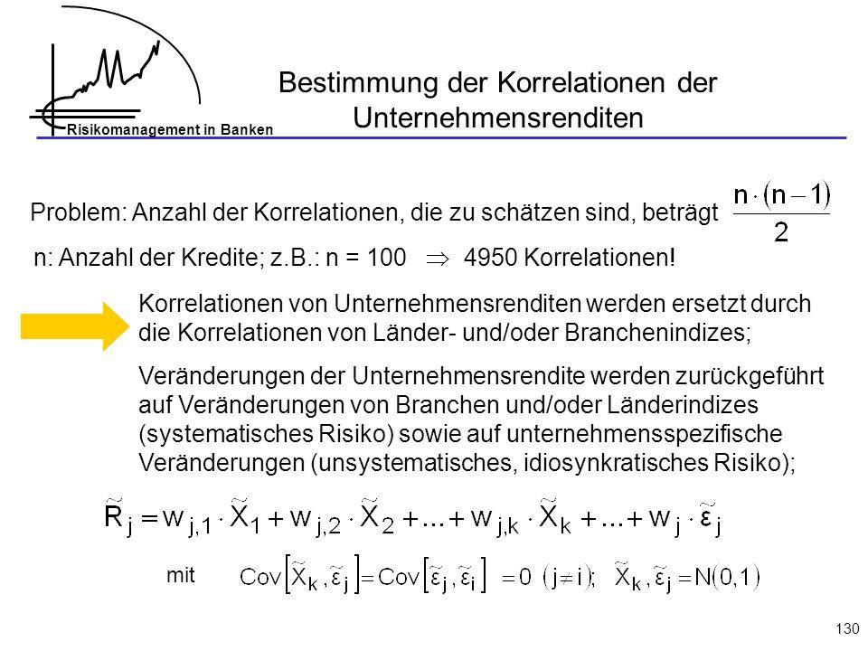 Risikomanagement in Banken 130 Bestimmung der Korrelationen der Unternehmensrenditen Problem: Anzahl der Korrelationen, die zu schätzen sind, beträgt n: Anzahl der Kredite; z.B.: n = 100 4950 Korrelationen.