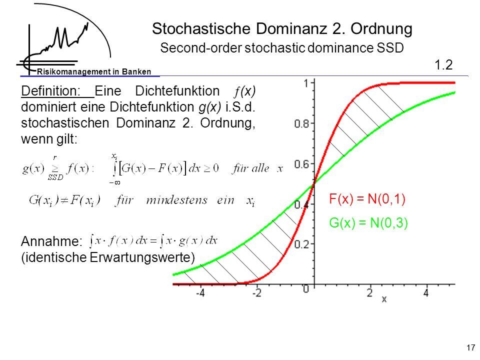 Risikomanagement in Banken 17 F(x) = N(0,1) G(x) = N(0,3) Definition: Eine Dichtefunktion (x) dominiert eine Dichtefunktion g(x) i.S.d. stochastischen