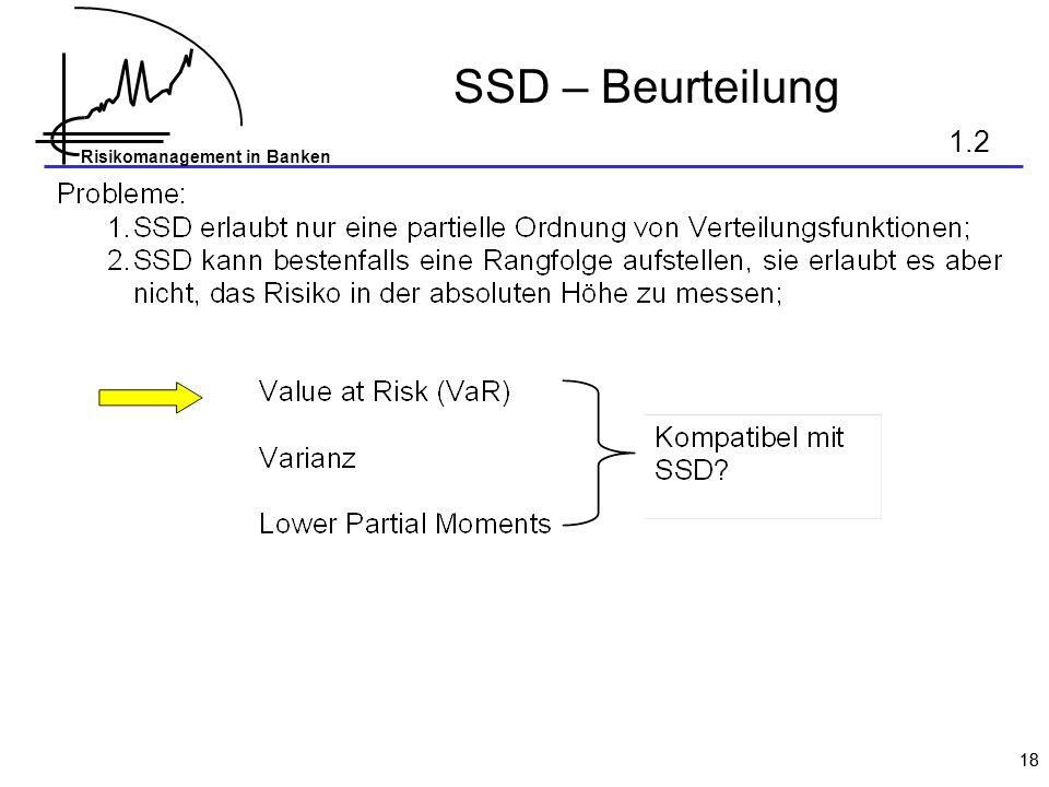 Risikomanagement in Banken 18 SSD – Beurteilung 1.2