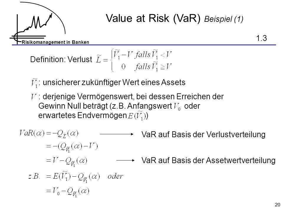 Risikomanagement in Banken 20 Value at Risk (VaR) Beispiel (1) 1.3 Definition: Verlust : unsicherer zukünftiger Wert eines Assets : derjenige Vermögenswert, bei dessen Erreichen der Gewinn Null beträgt (z.B.