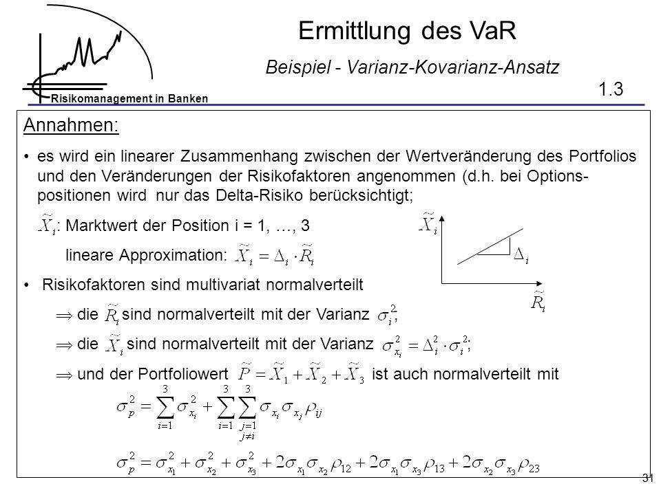 Risikomanagement in Banken 31 Ermittlung des VaR Beispiel - Varianz-Kovarianz-Ansatz Annahmen: es wird ein linearer Zusammenhang zwischen der Wertveränderung des Portfolios und den Veränderungen der Risikofaktoren angenommen (d.h.