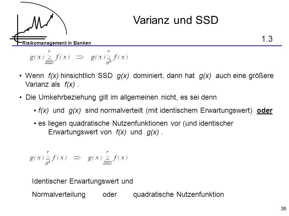 Risikomanagement in Banken 38 Varianz und SSD Wenn f(x) hinsichtlich SSD g(x) dominiert, dann hat g(x) auch eine größere Varianz als f(x). Die Umkehrb