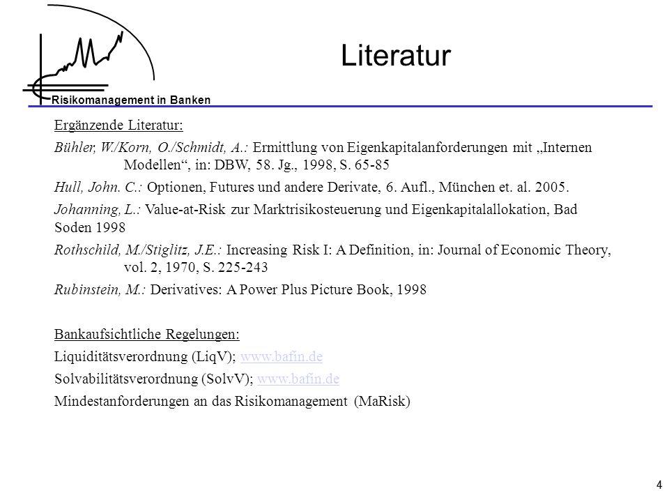 Risikomanagement in Banken 44 Literatur Ergänzende Literatur: Bühler, W./Korn, O./Schmidt, A.: Ermittlung von Eigenkapitalanforderungen mit Internen Modellen, in: DBW, 58.