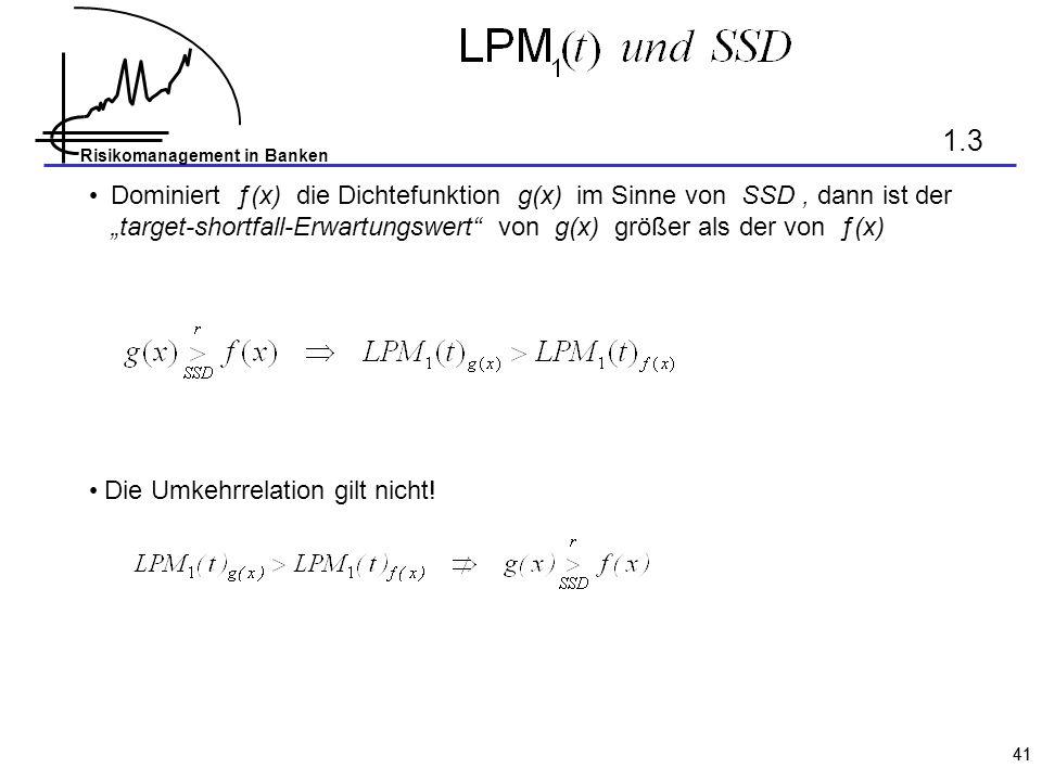 Risikomanagement in Banken 41 Dominiert ƒ(x) die Dichtefunktion g(x) im Sinne von SSD, dann ist der target-shortfall-Erwartungswert von g(x) größer al