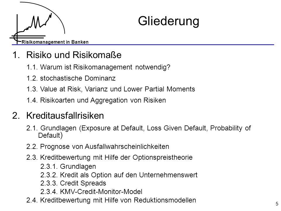 Risikomanagement in Banken 76 Moody`s RISKCALC TM Schritt 3: Anpassung des Modells an empirische Ausfallraten (Kalibrierung) Ausfallrate (%) kalibrierte Ausfallwahrscheinlichkeit Modell-Output empirische Ausfallrate Das Mapping der Modell-Ausgabe auf empirische Ausfallraten erfolgt mit Hilfe eines Glättungs-Algorithmus.