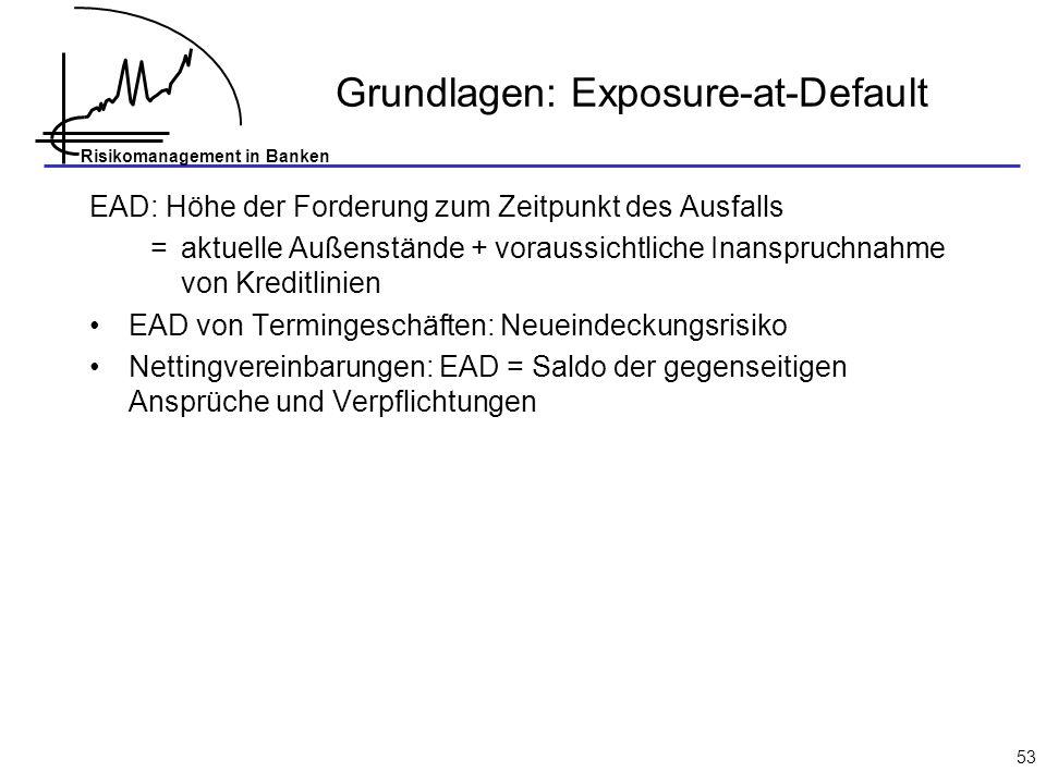 Risikomanagement in Banken 53 Grundlagen: Exposure-at-Default EAD: Höhe der Forderung zum Zeitpunkt des Ausfalls = aktuelle Außenstände + voraussichtl