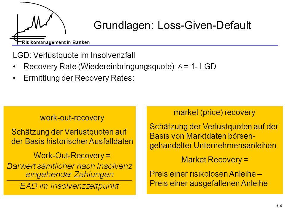 Risikomanagement in Banken 54 Grundlagen: Loss-Given-Default LGD: Verlustquote im Insolvenzfall Recovery Rate (Wiedereinbringungsquote): = 1- LGD Ermittlung der Recovery Rates: work-out-recovery Schätzung der Verlustquoten auf der Basis historischer Ausfalldaten Work-Out-Recovery = market (price) recovery Schätzung der Verlustquoten auf der Basis von Marktdaten börsen- gehandelter Unternehmensanleihen Market Recovery = Preis einer risikolosen Anleihe – Preis einer ausgefallenen Anleihe