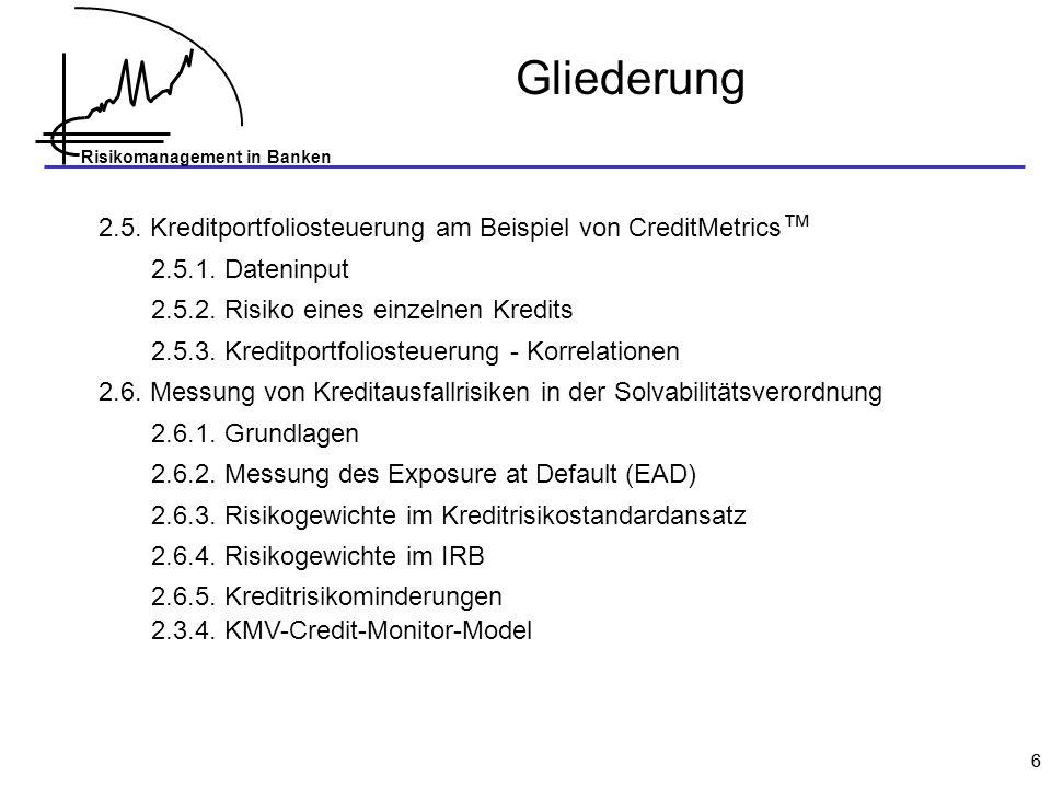 Risikomanagement in Banken 37 Value at Risk (VaR) Literatur Bühler/Korn/Schmidt 1998 (Vergleich der Verfahren) Hartmann-Wendels/Pfingsten/Weber 2007 Johanning 1998 (VaR-Puts) Jorion 1997 (ausführliche Lehrbuchdarstellung) Monatsberichte der Deutschen Bundesbank, Oktober 1998 (Beispiel Varianz-Kovarianz-Ansatz) 1.3