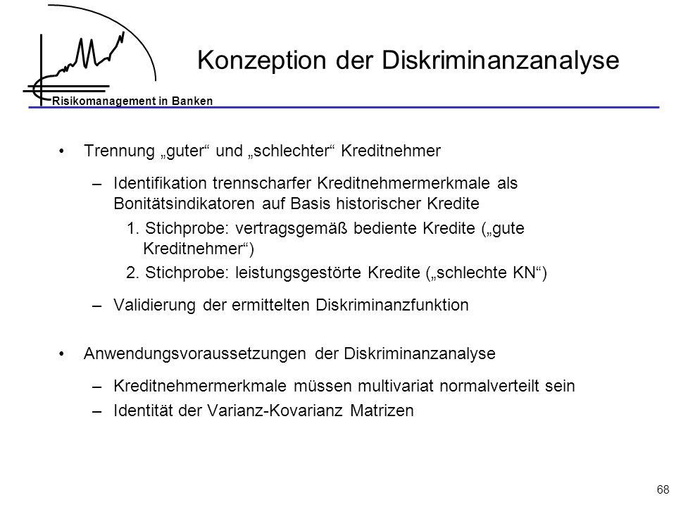 Risikomanagement in Banken 68 Konzeption der Diskriminanzanalyse Trennung guter und schlechter Kreditnehmer –Identifikation trennscharfer Kreditnehmer