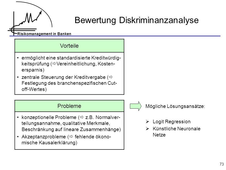 Risikomanagement in Banken 73 Vorteile ermöglicht eine standardisierte Kreditwürdig- keitsprüfung ( Vereinheitlichung, Kosten- ersparnis) zentrale Steuerung der Kreditvergabe ( Festlegung des branchenspezifischen Cut- off-Wertes) Probleme konzeptionelle Probleme ( z.B.