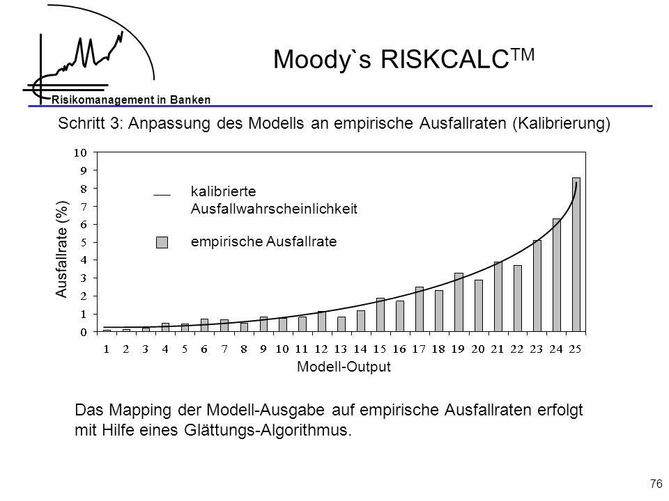 Risikomanagement in Banken 76 Moody`s RISKCALC TM Schritt 3: Anpassung des Modells an empirische Ausfallraten (Kalibrierung) Ausfallrate (%) kalibrier