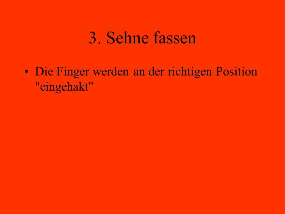 3. Sehne fassen Die Finger werden an der richtigen Position