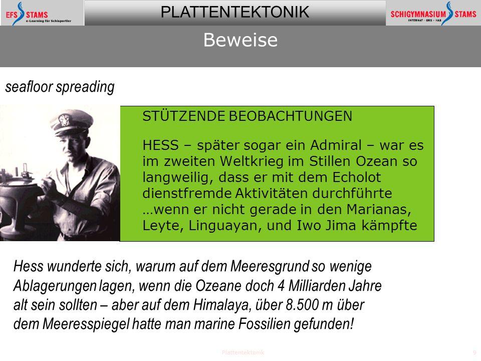 PLATTENTEKTONIK Plattentektonik10 STÜTZENDE BEOBACHTUNGEN HESS veröffentlichte 1962 seine Theorie des Beweise seafloor spreading 1962 Hess was appointed by President John F.