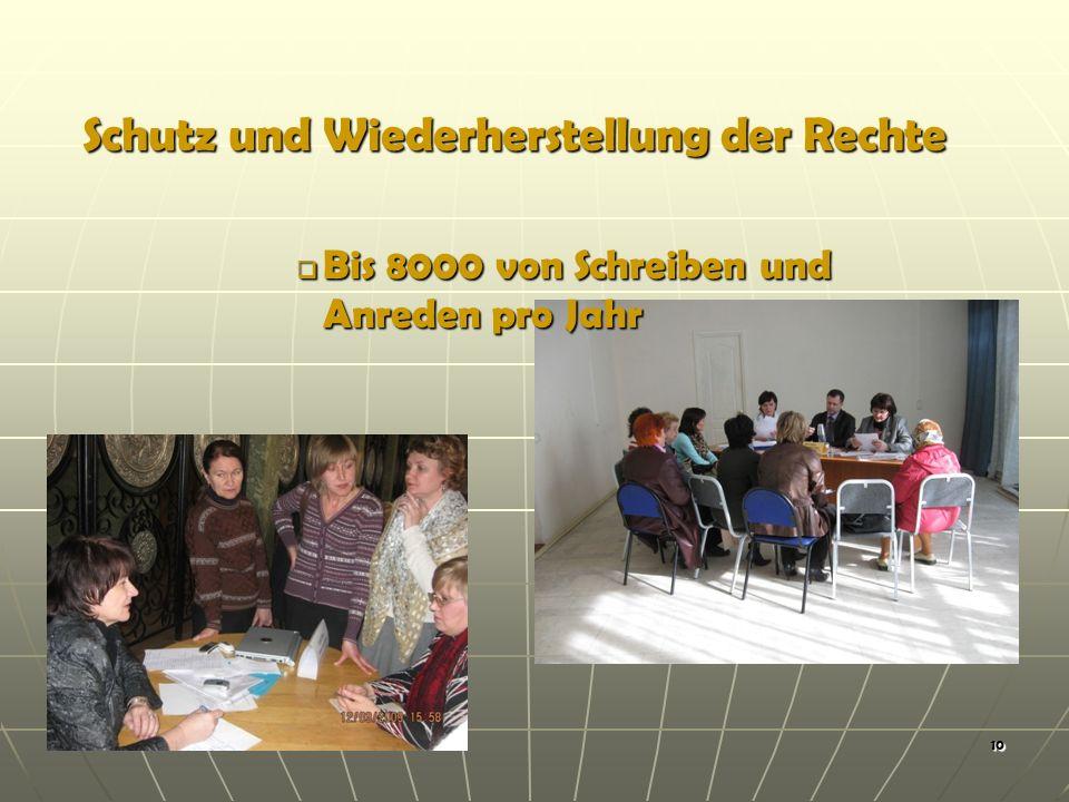 10 Schutz und Wiederherstellung der Rechte Bis 8000 von Schreiben und Anreden pro Jahr Bis 8000 von Schreiben und Anreden pro Jahr