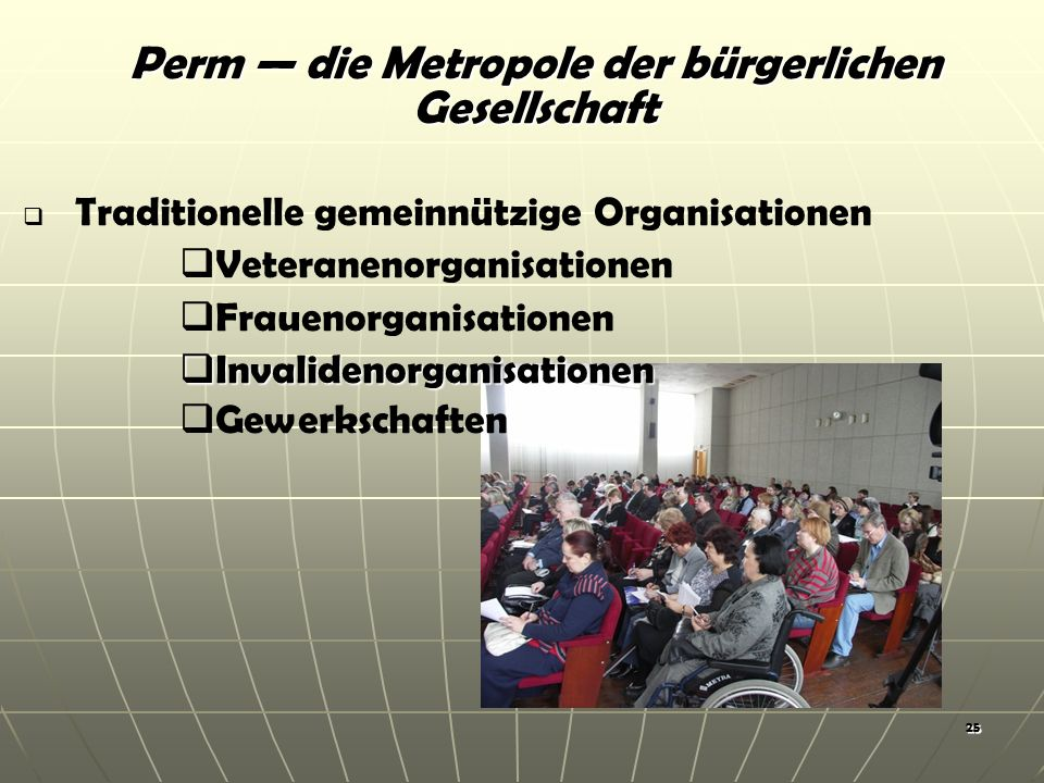 25 Traditionelle gemeinnützige Organisationen Veteranenorganisationen Frauenorganisationen Invalidenorganisationen Invalidenorganisationen Gewerkschaften Perm die Metropole der bürgerlichen Gesellschaft