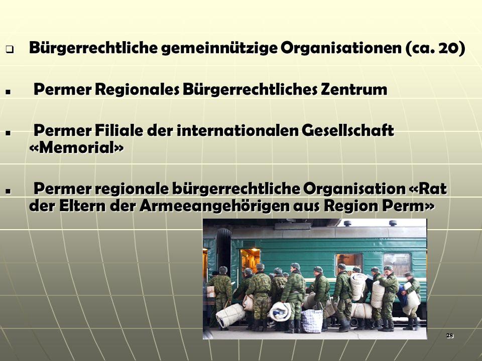 28 Bürgerrechtliche gemeinnützige Organisationen (ca.