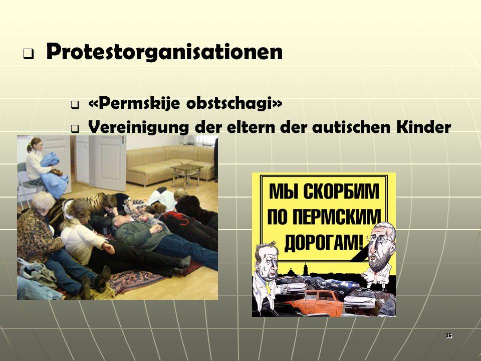 35 Protestorganisationen «Permskije obstschagi» Vereinigung der eltern der autischen Kinder