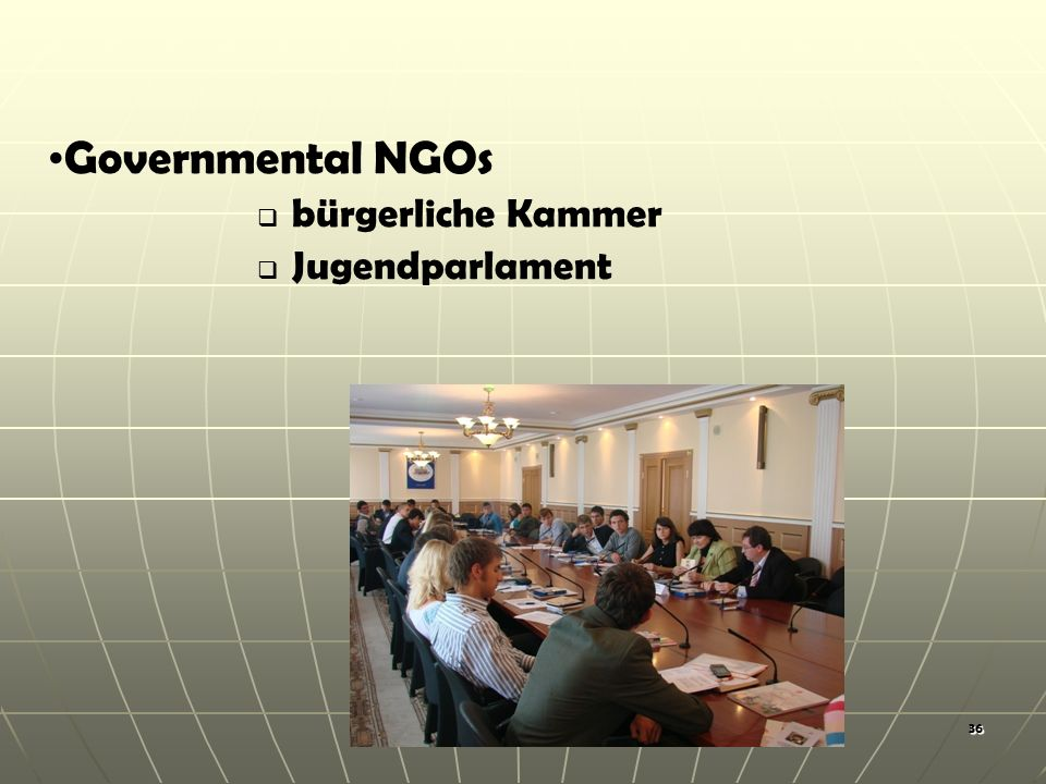 36 Governmental NGOs bürgerliche Kammer Jugendparlament