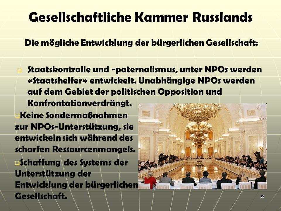 Gesellschaftliche Kammer Russlands Die mögliche Entwicklung der bürgerlichen Gesellschaft: Staatskontrolle und -paternalismus, unter NPOs werden «Staatshelfer» entwickelt.