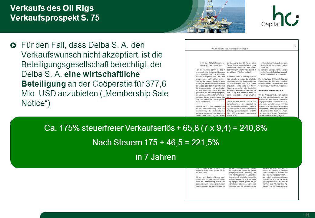 11 Verkaufs des Oil Rigs Verkaufsprospekt S. 75 Für den Fall, dass Delba S.