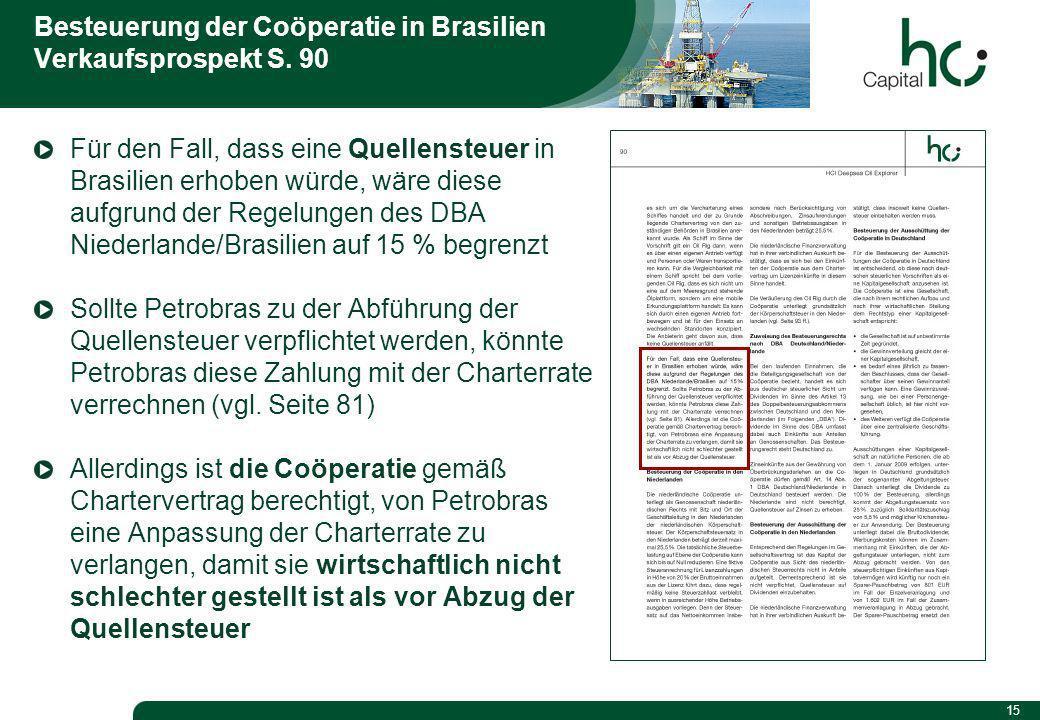 15 Besteuerung der Coöperatie in Brasilien Verkaufsprospekt S.
