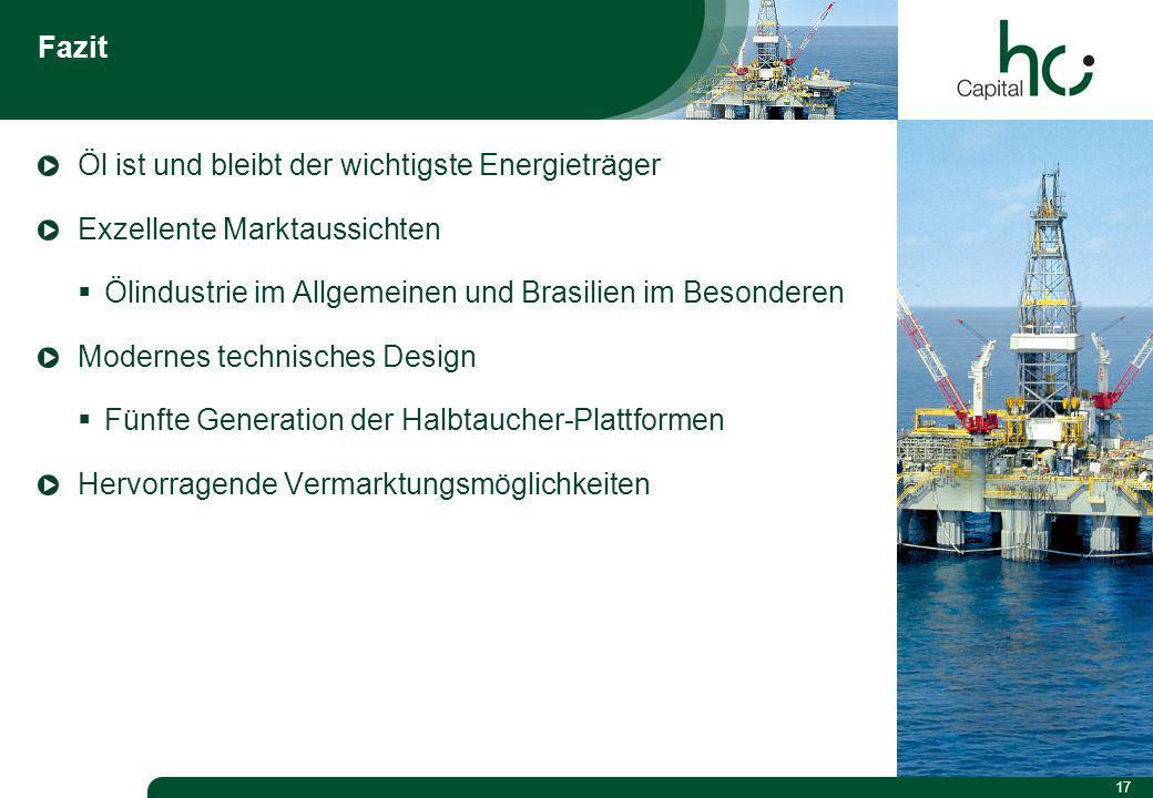 17 Fazit Öl ist und bleibt der wichtigste Energieträger Exzellente Marktaussichten Ölindustrie im Allgemeinen und Brasilien im Besonderen Modernes technisches Design Fünfte Generation der Halbtaucher-Plattformen Hervorragende Vermarktungsmöglichkeiten