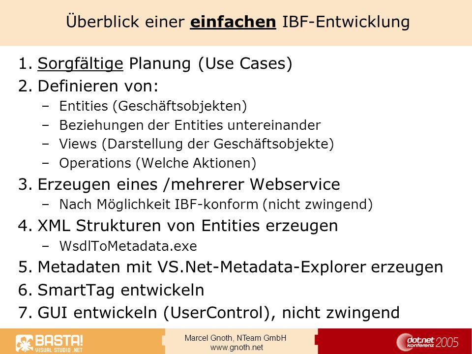 Marcel Gnoth, NTeam GmbH www.gnoth.net Überblick einer einfachen IBF-Entwicklung 1.Sorgfältige Planung (Use Cases) 2.Definieren von: –Entities (Geschä