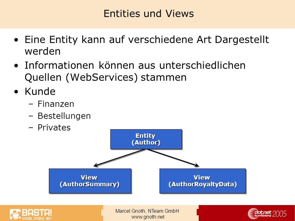 Marcel Gnoth, NTeam GmbH www.gnoth.net Entities und Views Eine Entity kann auf verschiedene Art Dargestellt werden Informationen können aus unterschie