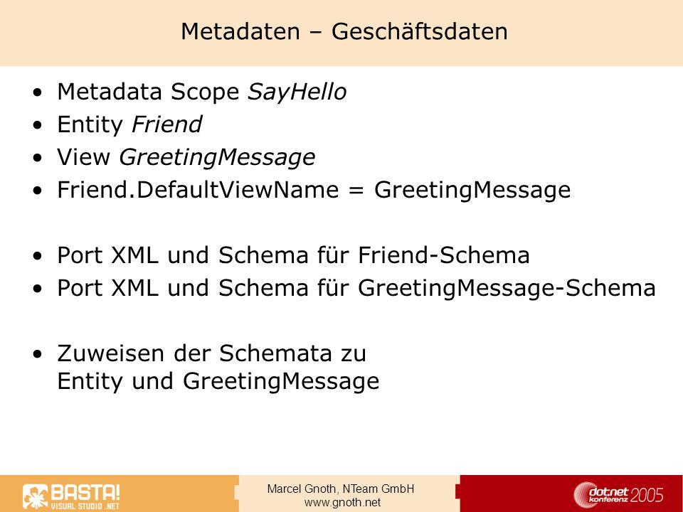 Marcel Gnoth, NTeam GmbH www.gnoth.net Metadaten – Geschäftsdaten Metadata Scope SayHello Entity Friend View GreetingMessage Friend.DefaultViewName =