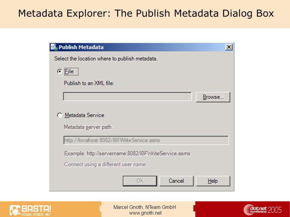 Marcel Gnoth, NTeam GmbH www.gnoth.net Metadata Explorer: The Publish Metadata Dialog Box