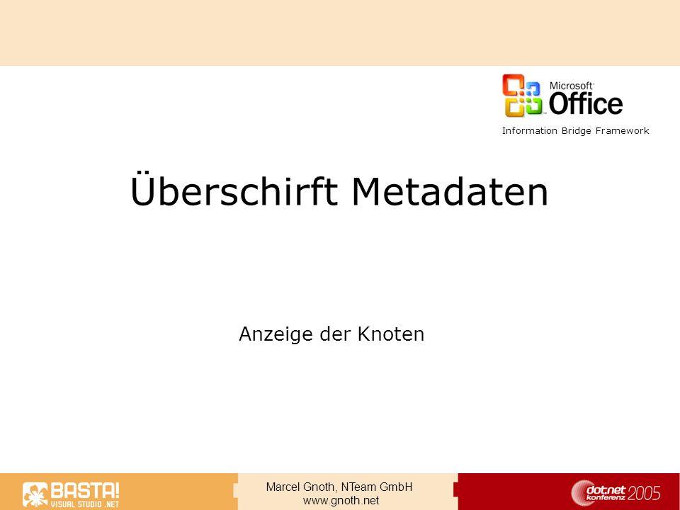 Marcel Gnoth, NTeam GmbH www.gnoth.net Überschirft Metadaten Anzeige der Knoten Information Bridge Framework