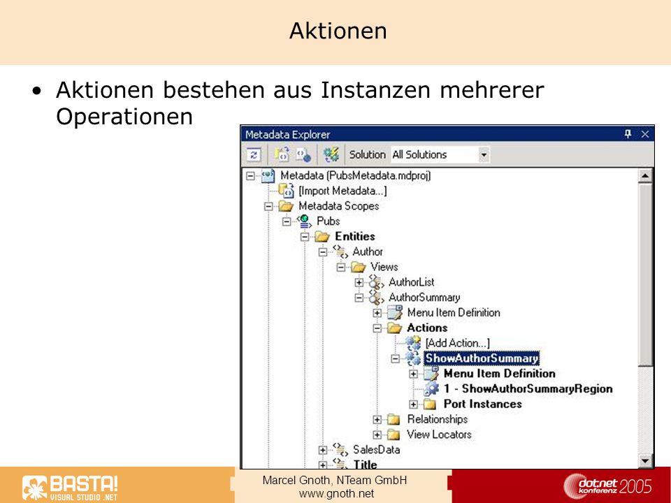 Marcel Gnoth, NTeam GmbH www.gnoth.net Aktionen Aktionen bestehen aus Instanzen mehrerer Operationen