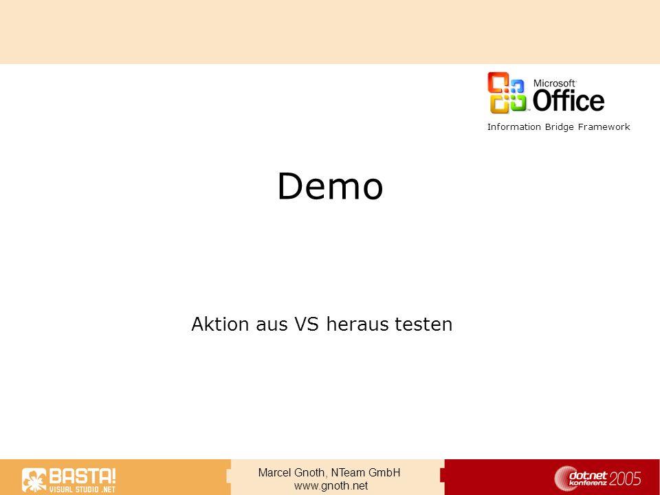 Marcel Gnoth, NTeam GmbH www.gnoth.net Demo Aktion aus VS heraus testen Information Bridge Framework