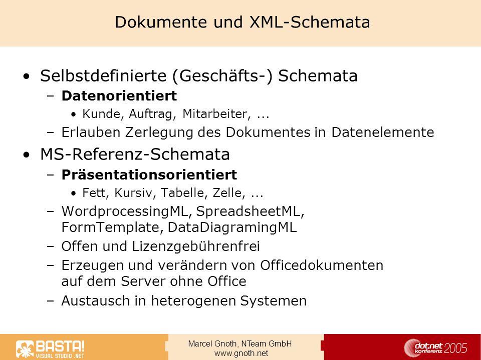 Marcel Gnoth, NTeam GmbH www.gnoth.net Dokumente und XML-Schemata Selbstdefinierte (Geschäfts-) Schemata –Datenorientiert Kunde, Auftrag, Mitarbeiter,
