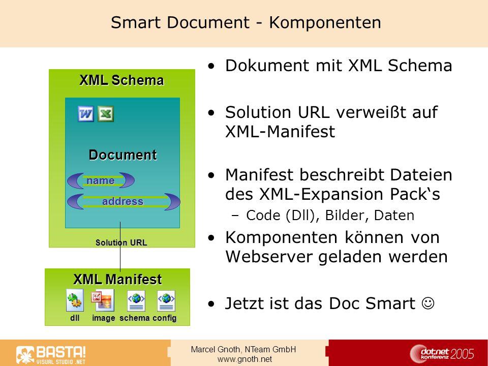 Marcel Gnoth, NTeam GmbH www.gnoth.net Smart Document - Komponenten Dokument mit XML Schema Solution URL verweißt auf XML-Manifest Manifest beschreibt