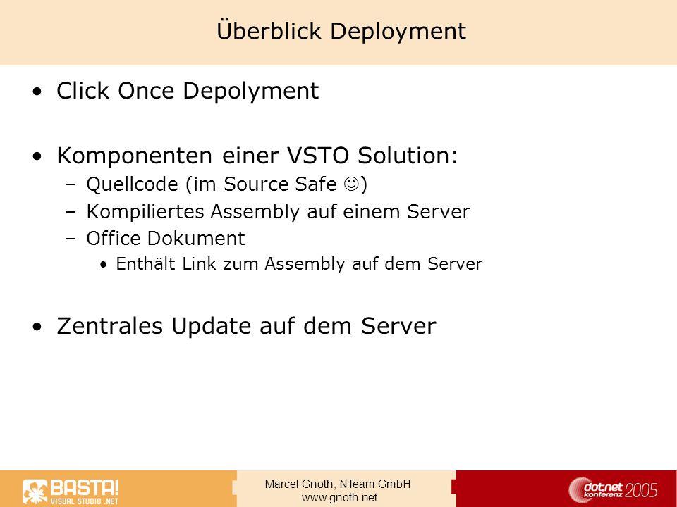 Marcel Gnoth, NTeam GmbH www.gnoth.net Überblick Deployment Click Once Depolyment Komponenten einer VSTO Solution: –Quellcode (im Source Safe ) –Kompi