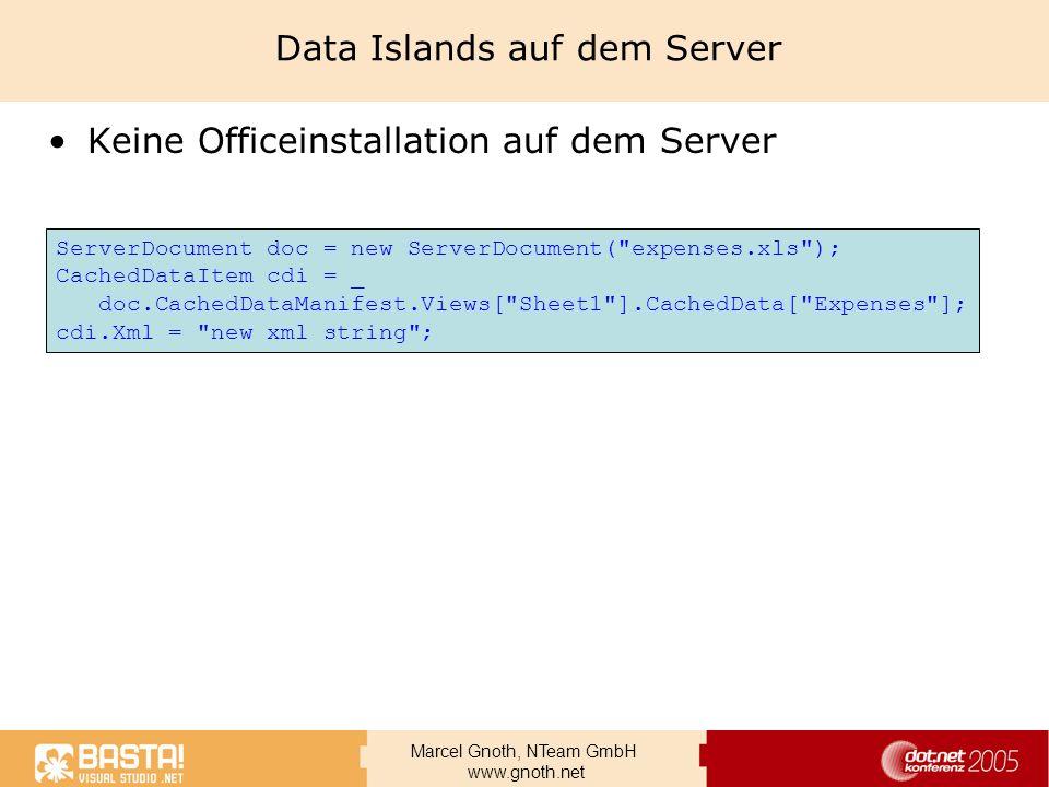 Marcel Gnoth, NTeam GmbH www.gnoth.net Data Islands auf dem Server Keine Officeinstallation auf dem Server ServerDocument doc = new ServerDocument(