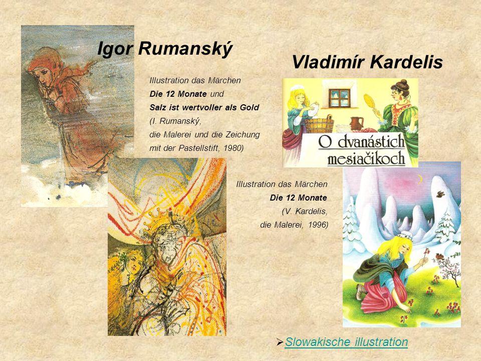 Slowakische illustration Illustration das Märchen Die 12 Monate und Salz ist wertvoller als Gold (I. Rumanský, die Malerei und die Zeichung mit der Pa