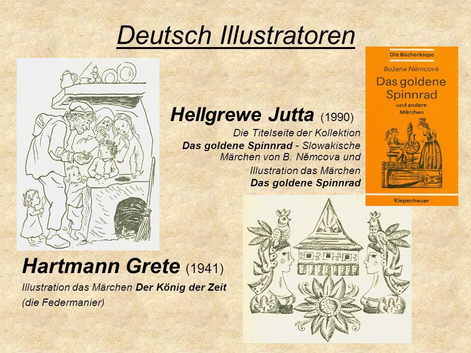 Deutsch Illustratoren Hellgrewe Jutta (1990) Die Titelseite der Kollektion Das goldene Spinnrad - Slowakische Märchen von B. Němcova und Illustration