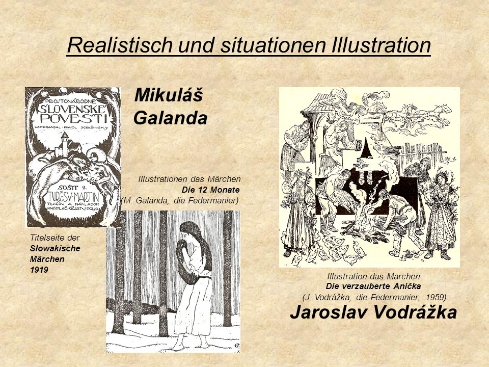 Mikuláš Galanda Illustrationen das Märchen Die 12 Monate (M. Galanda, die Federmanier) Titelseite der Slowakische Märchen 1919 Jaroslav Vodrážka Reali