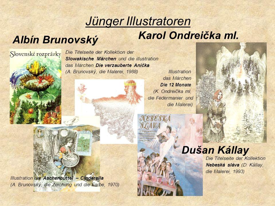 Jünger Illustratoren Die Titelseite der Kollektion der Slowakische Märchen und die illustration das Märchen Die verzauberte Anička (A. Brunovský, die